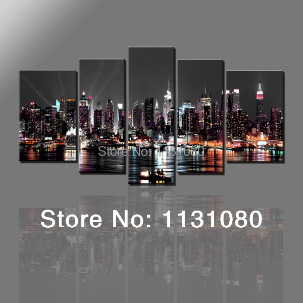 5pieces wall canvas painting New York city night view posters home decoration pictures living room - Lanz Wall Decor store