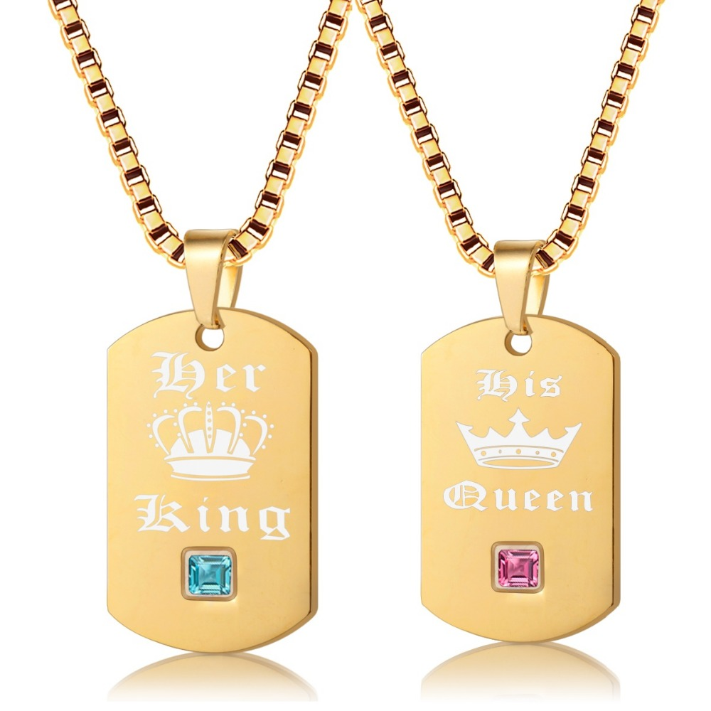 909ba6aed2 Uloveido Her King and His Queen Necklaces & Pendants Titanium Couple Gold  Color Necklace Stainless Steel Suspension Gifts SN118-in Pendant Necklaces  from ...