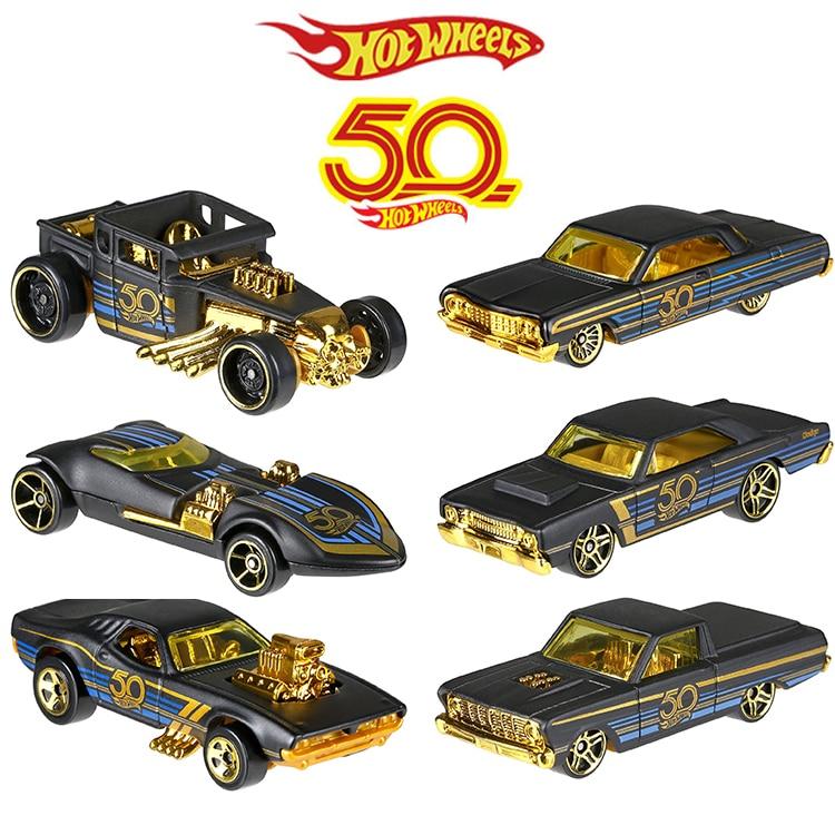 Lage Prijs 2018 Hot Wheels Auto Collector's Edition 50th Anniversary Black Gold Metal Diecast Cars Speelgoed Voertuig Voor Kinderen Juguetes Frn33 Laatste Mode