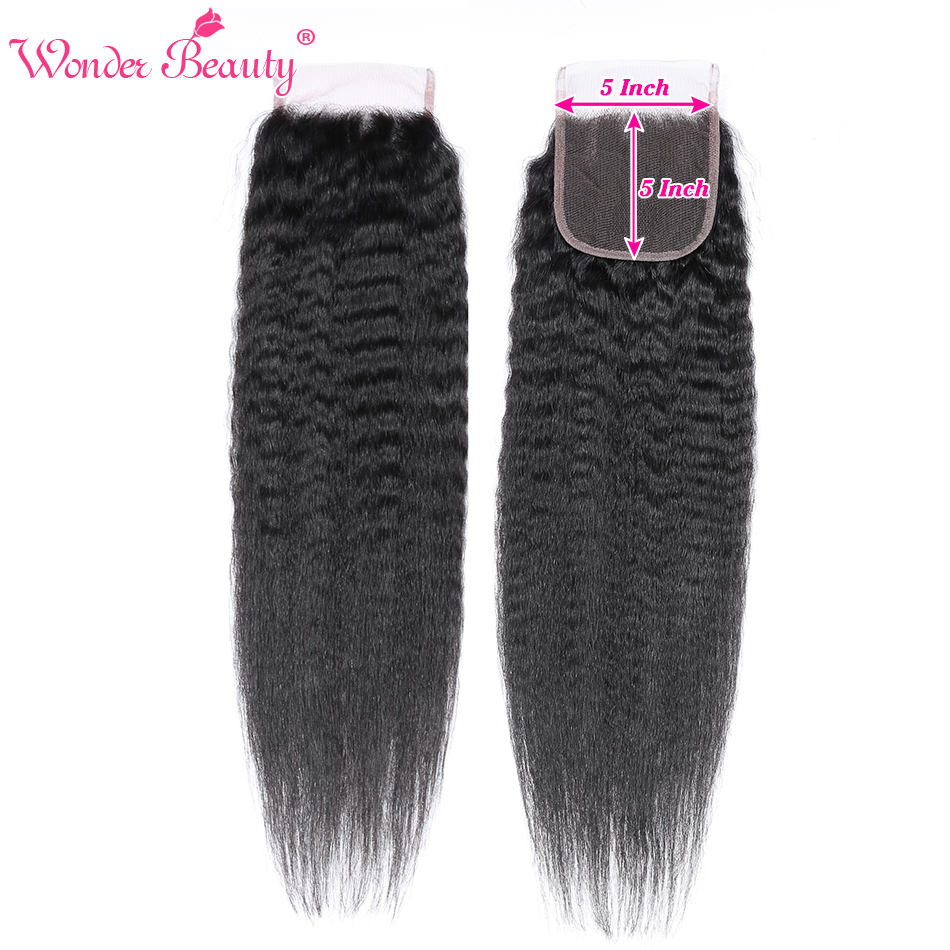Kinky Straght Hair 5*5 Lace Closure With Deep Part 8-20inch Wonder Beauty Yaki Remy Brazilian Human Hair Closure With Baby Hair