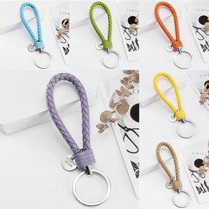 Vicney 33 Colors PU Leather Braided Woven Rope bts keychain DIY bag Pendant Key Chain Holder Car Keyrings Men Women Keychain(China)