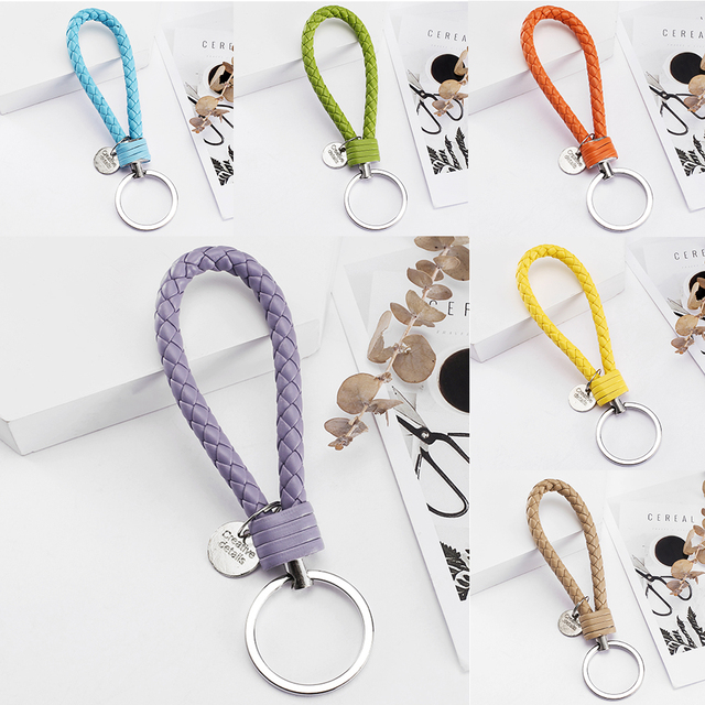 Vicney 33 Colors PU Leather Braided Woven Rope bts keychain DIY bag Pendant Key Chain Holder Car Keyrings Men Women Keychain
