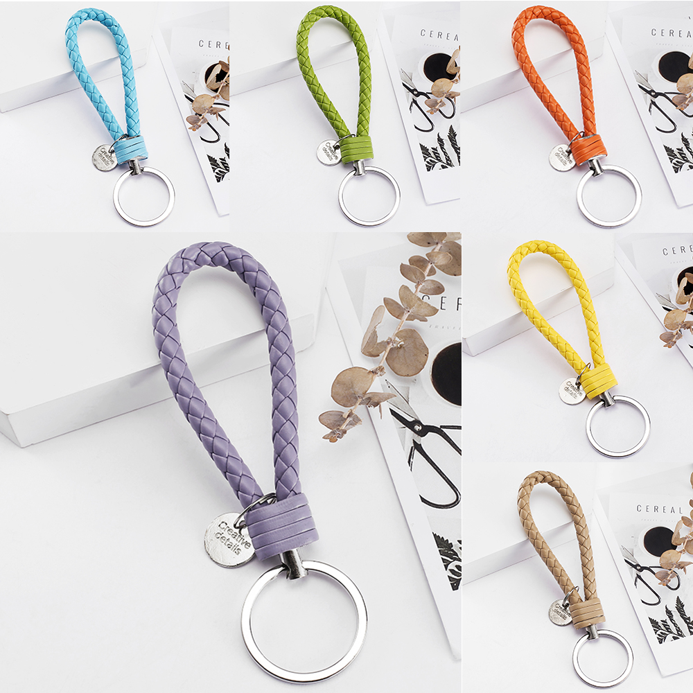 Vicney 33 Colors PU Leather Braided Woven Rope <font><b>bts</b></font> keychain DIY bag Pendant Key Chain Holder Car Keyrings Men Women Keychain image