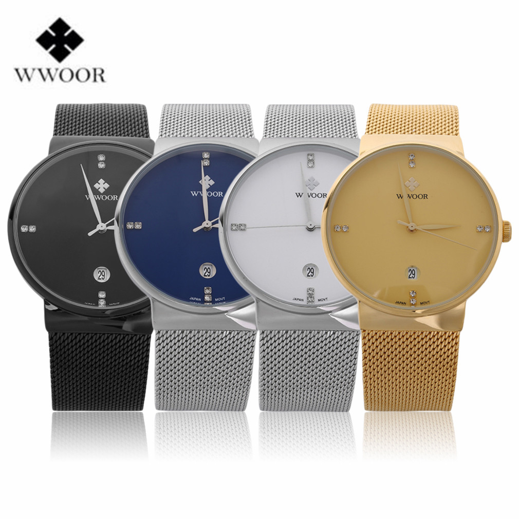 Wwoor ultra thin stainless steel band waterproof date clock male sports watches men quartz casual wrist