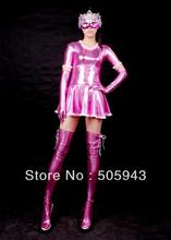 Free Shipping DHL Sexy Fancy Dress Adult Sexy Pink Shiny Metallic Catsuit Dress Catsuit For Halloween Party SZ14010315