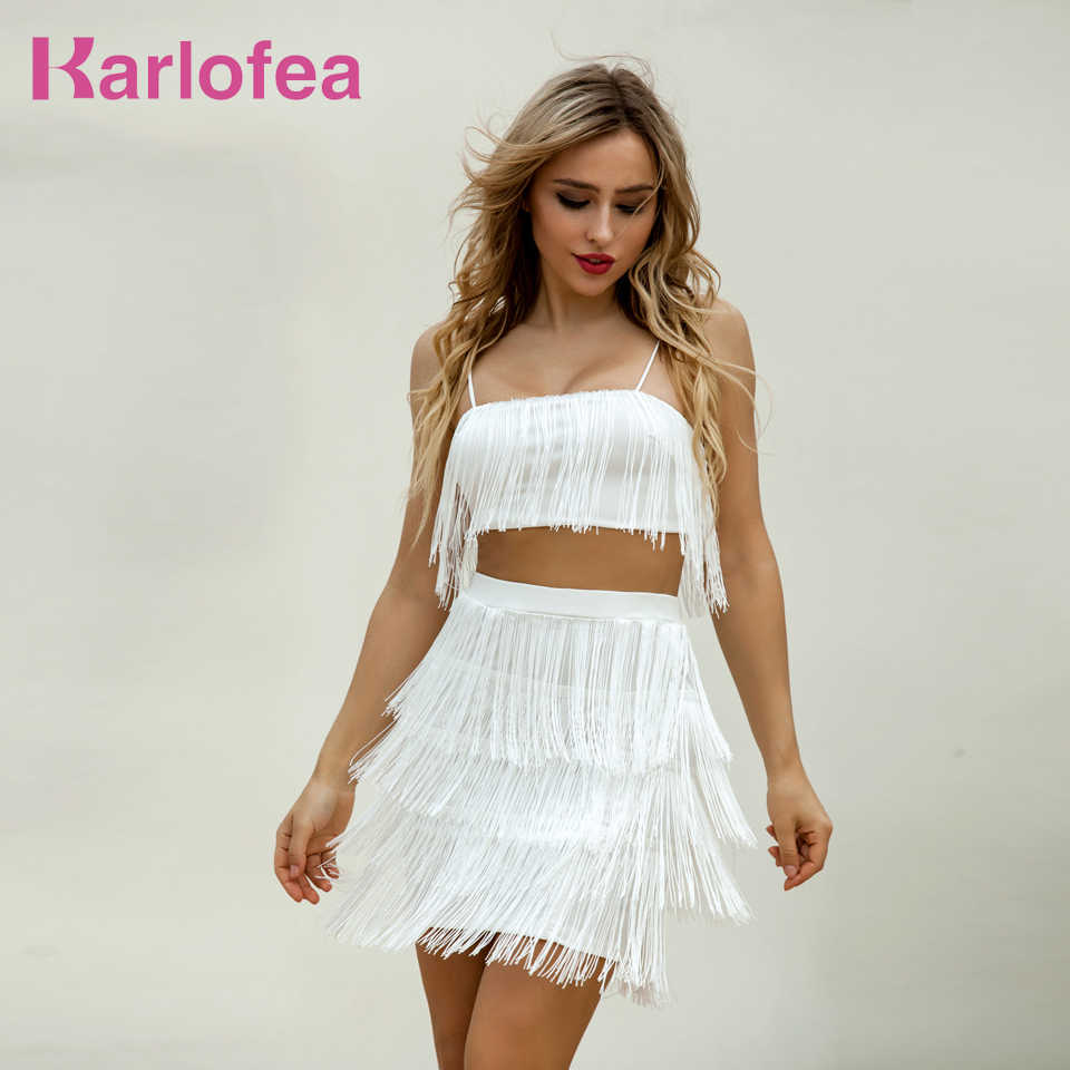 9041c273555 Karlofea New Tassel Layer Fringe Strap Top And Short Dress Boho Casaul Chic  Women Outfits Fashion
