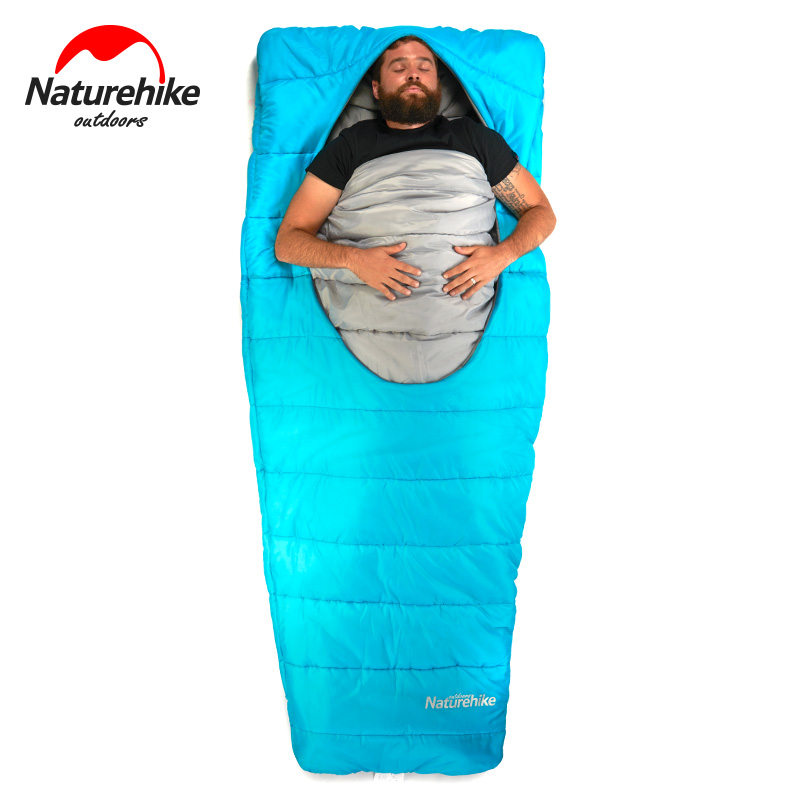 Naturehike Mid-center ellipse zipped cotton sleeping bag outdoor camping adult 3 season sleeping bags hiking traveling lazy bags