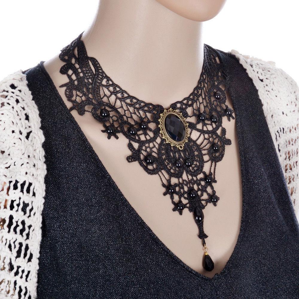 Sexy Lady Black Lace Retro Gothic Necklace Handmade