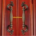 "128mm creative rustico vintage furniture handle antique brass drawer cabinet pull knob 5"" yellow bronze dresser door handle pull"