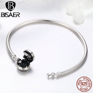 Image 4 - Classic 2019 New 925 Sterling Silver Bright Heart Round Snake Clasp Bracelets Basic Silver Charms Bracelet Women DIY Jewelry