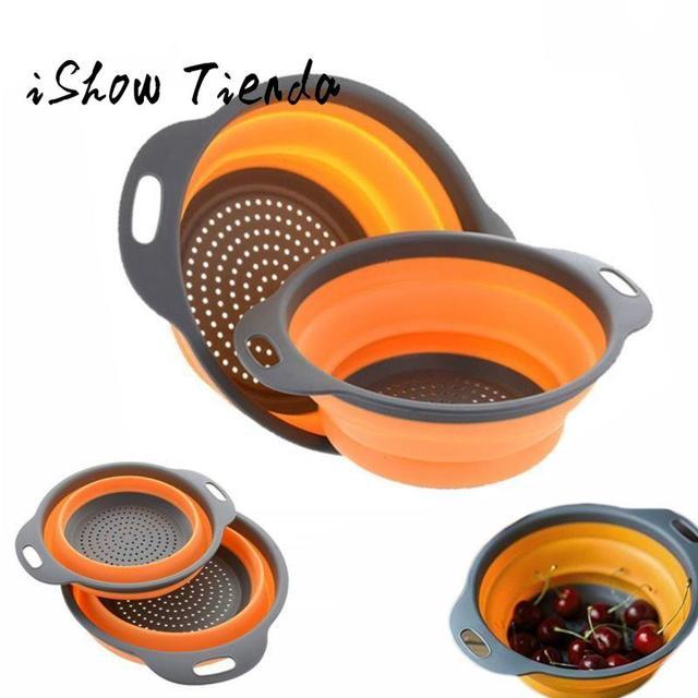 Coador de Silicone dobrável Coador de Frutas Legumes Cesto de Lavagem Escorredor Dobrável Com Alça Cozinha Ferramenta # P