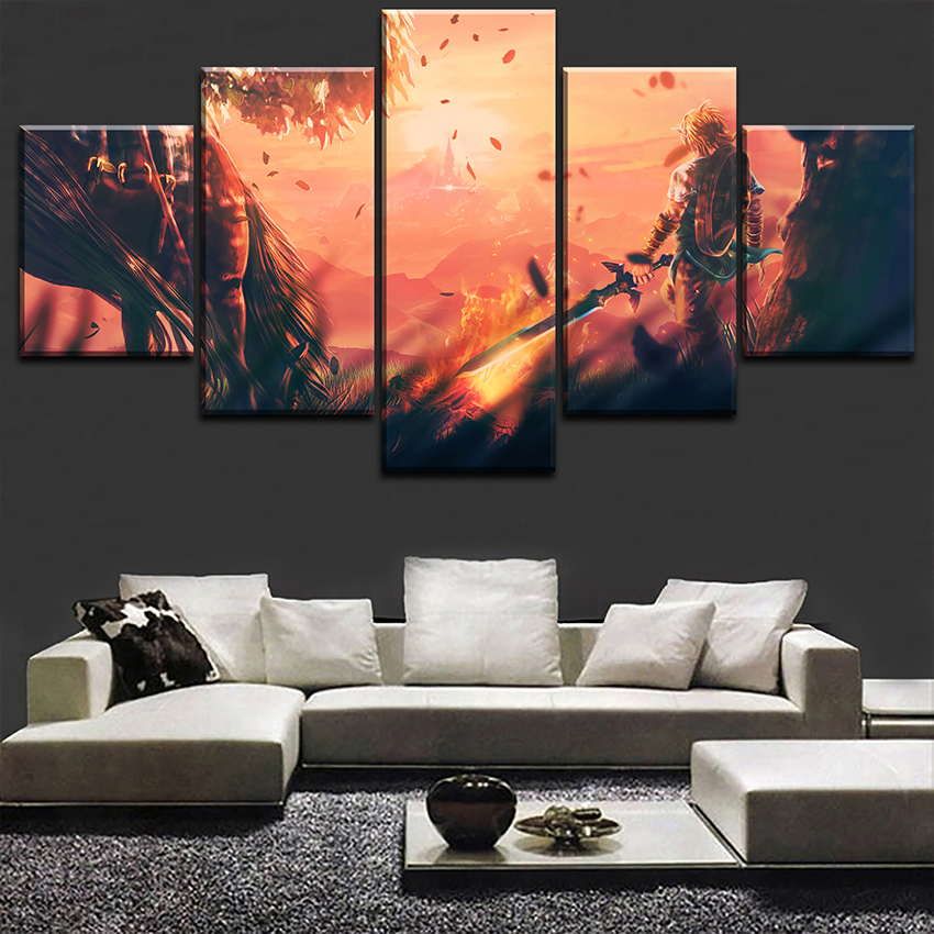 Home Decor HD Printed Wall Art Pictures 5 Piece Game The Legend of Zelda Poster Landscape Canvas Painting Home Decor Living Room in Painting Calligraphy from Home Garden