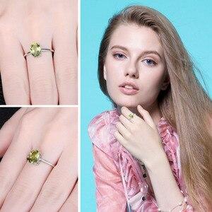 Image 4 - JewelryPalace oryginalna Peridot Ring Solitaire 925 srebro pierścionki dla kobiet pierścionek zaręczynowy srebro 925 kamieni szlachetnych biżuteria
