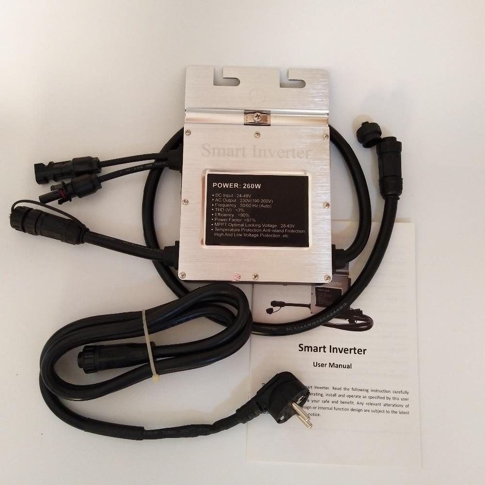HTB1tL9UjGmgSKJjSsplq6yICpXaN - 1Piece Waterproof Solar On Grid Tie Smart Mini Inversor Micro Inverter 250W SMG260W Microinverter input 24-45VDC