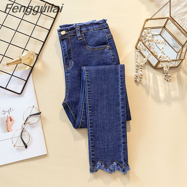 Fengguilai Women Pants 2019 Autumn Winter Jeans Female Denim Pants Mens Jeans Donna Stretch Bottoms Skinny Pants Women Trousers