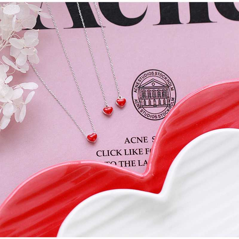 ロマンチックなシンプルなリトル赤ハート耳ラインスウィートガール愛気質ガールペンダント鎖骨チェーン赤リトル赤ハートネックレス