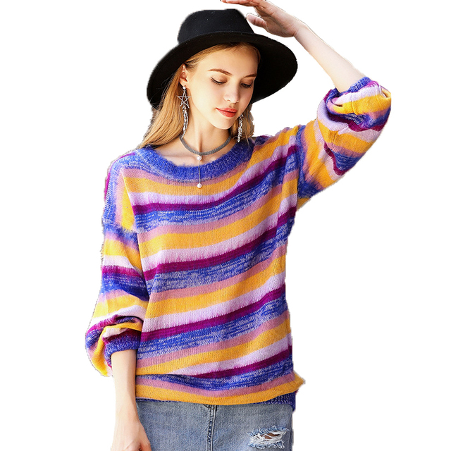 ac21e73517c6 Boho Knit Sweater Pullover Multi Color Autumn Winter Cotton Loose Long  O-Neck Hippie Chic Womens Runway Fashion Sweaters Dress