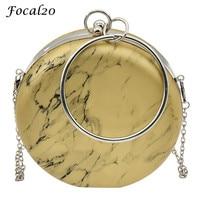 Focal20 PU Leather Marble Pattern Women Clutch Bag Evening Bag Hasp Metal Ring Round Lady Elegant