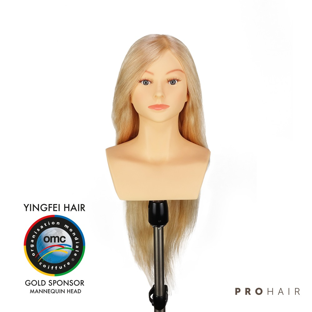 PROHAIR OMC Approved 60CM 24 100 Human Hair Light Blond Competition Head Hairdressing Mannequin Doll Head