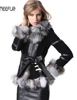Classical Lady Genuine Leather Coat with Fox Fur Trim Collar Winter Warm Leather Overcoat Long Coat with Belt LX00188