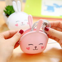 20 PCS Korean Candy Colored Girls Coin Bags Women Key Wallets Cute Cartoon Rabbit Silicone Mini
