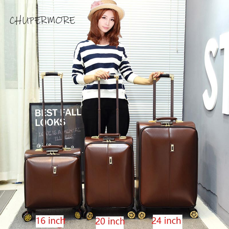 100% Leather Feel  Rolling Luggage Spinner Men Business Suitcase Wheels 16 Inch Carry On Password Travel Bags Trelloy