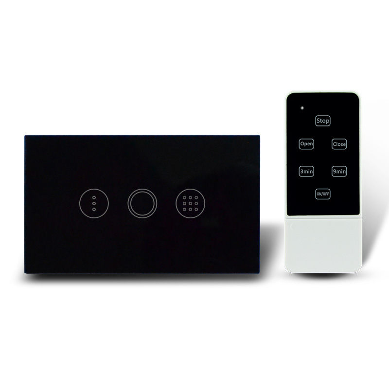 AU / US Type Touch Time Delay Switch with Remote Control AC110-240V RF 433Mhz , Waterproof Glass Panel Electric Wall Switch black color 2gang touch light switch with wireless remote control rf 433mhz glass panel smart wall touch switch uk type