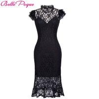 Belle Poque Ladies Summer Robe Vintage Bodycon Black Lace Gothic Dress 2017 Women Retro Ruffle Sexy