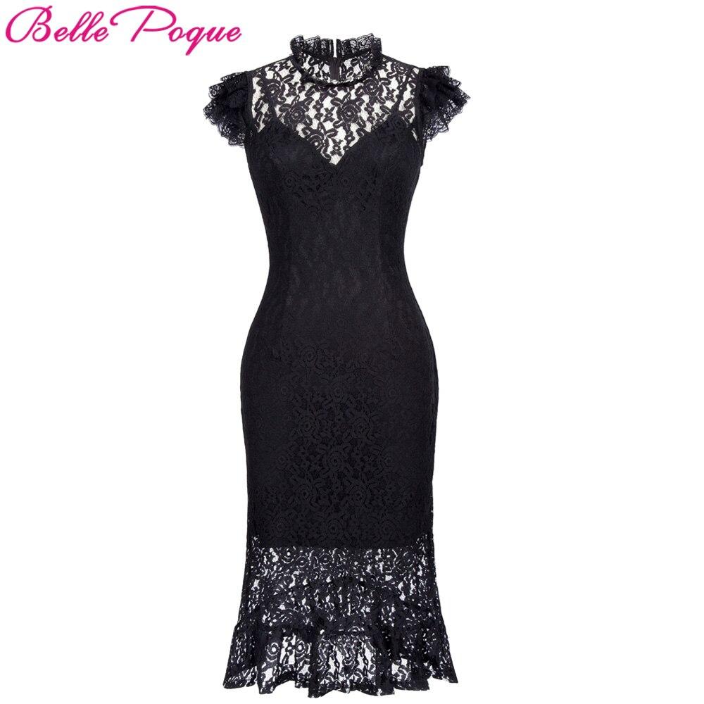 Belle Poque Damen Sommer robe Vintage Bodycon Schwarze Spitze Gothic ...