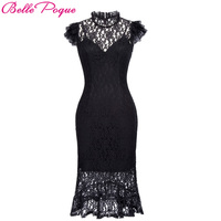 Belle Poque Ladies Summer Robe Vintage Bodycon Black Lace Gothic Dress 2017 Women Retro Ruffle Sexy