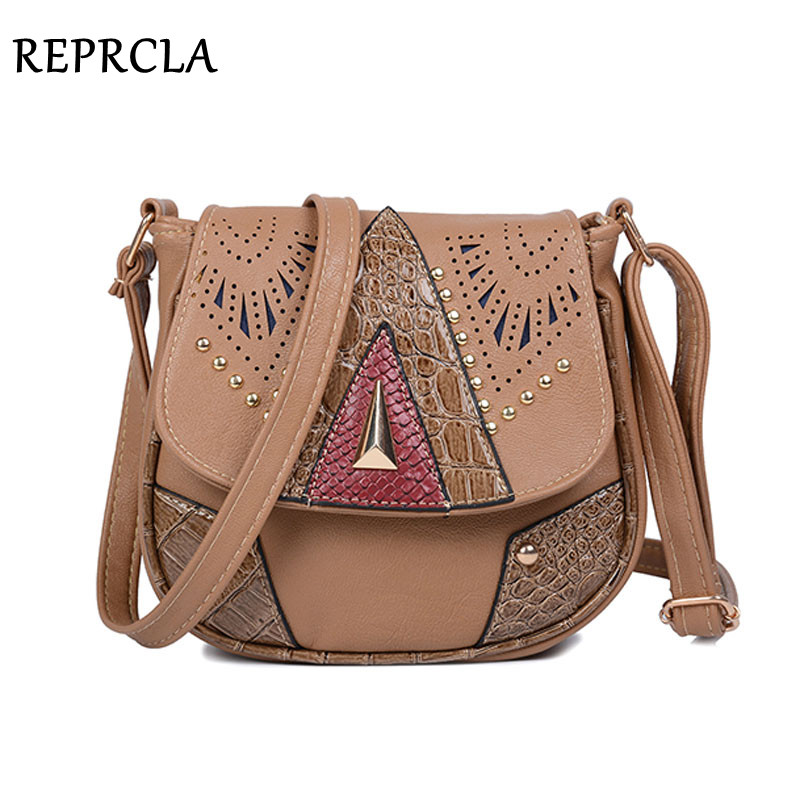 REPRCLA Vintage Hollow Out Women Shoulder Bag High Quality Crossbody Bags for Women Messenger Bags Patchwork PU Handbags lace patchwork hollow out shirt