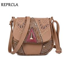 REPRCLA Vintage Hollow Out Women Shoulder Bag High Quality Crossbody Bags for Women Messenger Bags Patchwork PU Handbags
