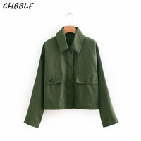 CHBBLF women elegant army green coat buttons long sleeve coats female casual outerwear chic tops O8822