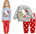 2015 New Spring Autumn Kid Pajama Set 100% Cotton KT Cart Girl Clothing Set 2-7 Age Brand Child Pajama Baby Girl Clothes Set
