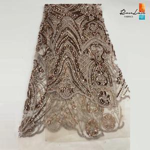Image 3 - Bourgogne Kim Sa Lưới Vải Ren Màu Rượu Vang Châu Phi Nữ Giới Nigeria Váy áo May Chất Liệu Cổ Điển Thiết Kế Lưới Vải
