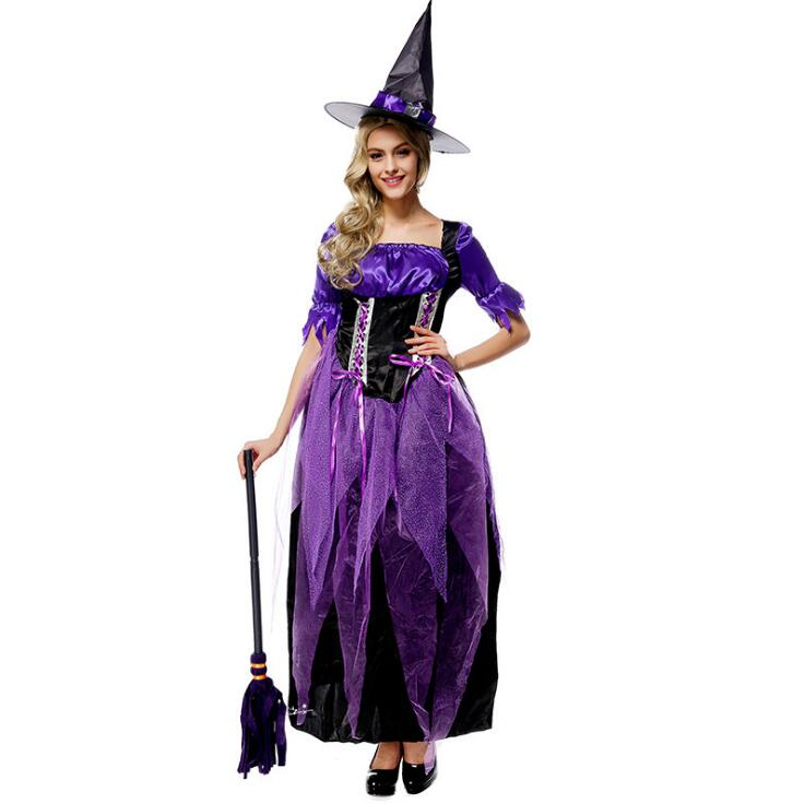 Halloween Costumes Witch Costume for Women Adult  Fantasia Dress Hat Cosplay Clothing for Woman