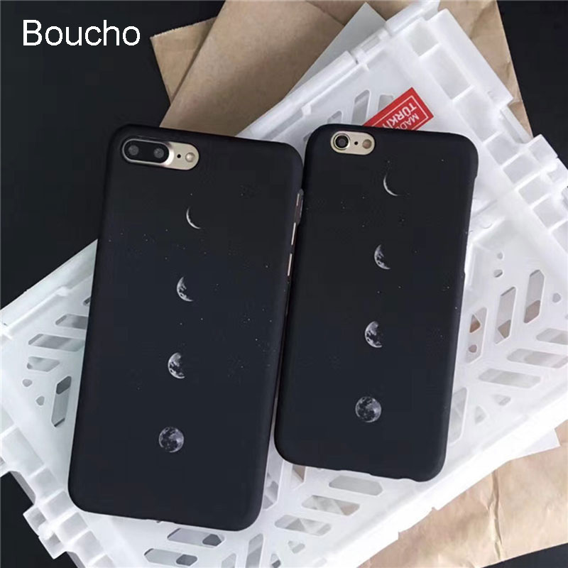 Boucho Phone Case For Iphone 7 7 Plus Cartoon Frosted Hard Pcfashion Moon Space Lunar Eclipse Cover For Iphone 6 6s Plus Case Last Style Half-wrapped Case Phone Bags & Cases