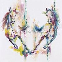 Imagen sin marco pintura de acrílico por los pintores pintura al óleo abstracta pintura de regalo único por números 2 caballos