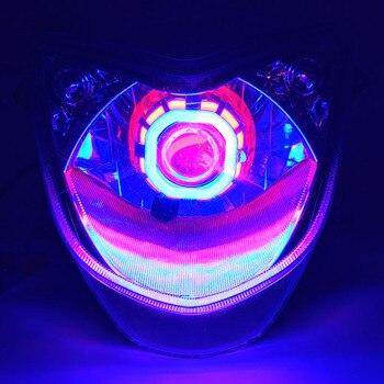 1 pièces moto LED phares 12 v 2400lm coloré moto lumineuse antibrouillard lampe étanche motos phare auxiliaire|  -