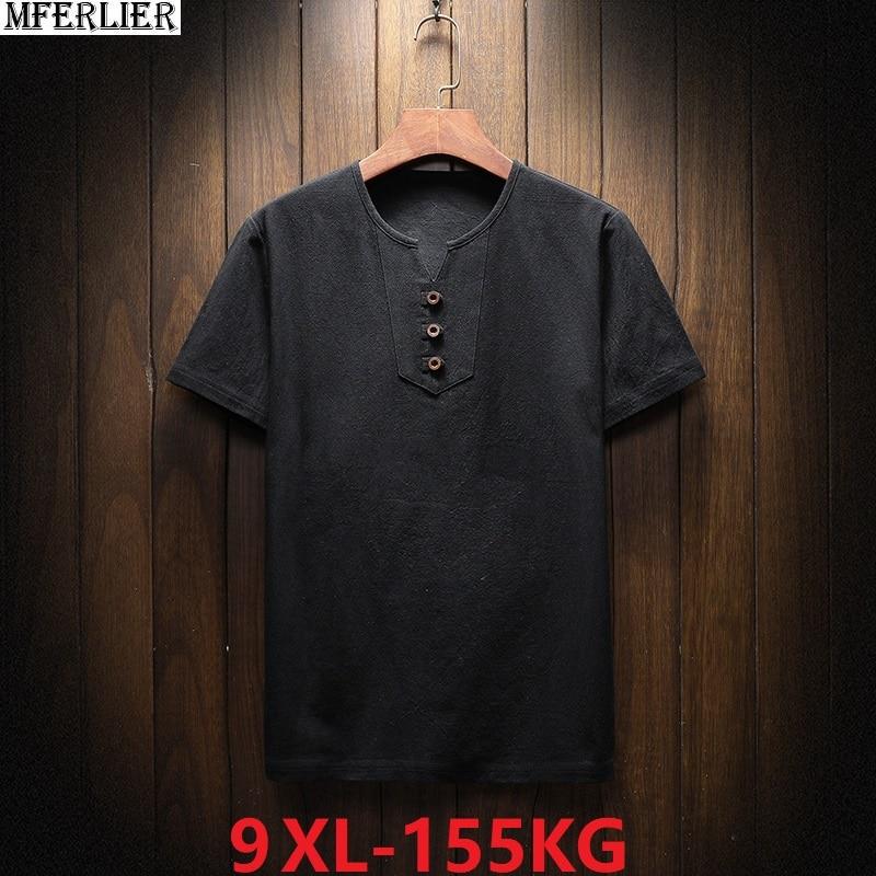 Artı boyutu büyük erkek günlük T-shirt yaz keten kısa kollu v yaka tee 5XL 7XL 8XL 9XL tshirt siyah ev üstleri 58 60 62 64 66 68