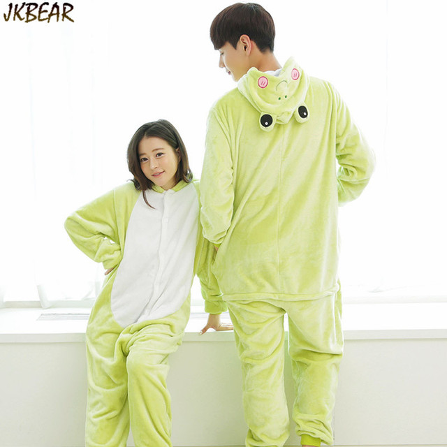 0ddc013f8a Cute Frog Onesies for Teenagers and Adults Flannel Funny Animal Costume Couples  Matching Onesie Pajamas Plus Size PJS S-XL
