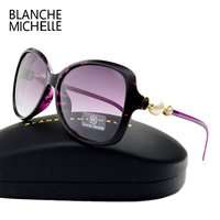 Fashion High Quality Butterfly Pearl Sunglasses Women Mirror Polarized UV400 Sun Glasses Brand Designer 2017 With