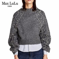Max LuLu Fashion Pearl Designer Womens Winter Sweater Thicken Warm Knitwear Ladies Christmas Pullover Knitted Jumper
