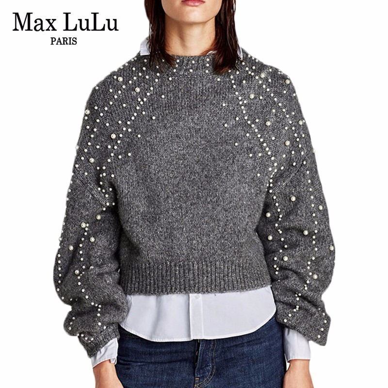 size 40 03ff1 77748 US $27.55 16% OFF|Max LuLu Mode Perle Designer Frauen Winter Pullover  Verdicken Warme Strickwaren Damen Weihnachten Pullover Strickpullover Plus  ...