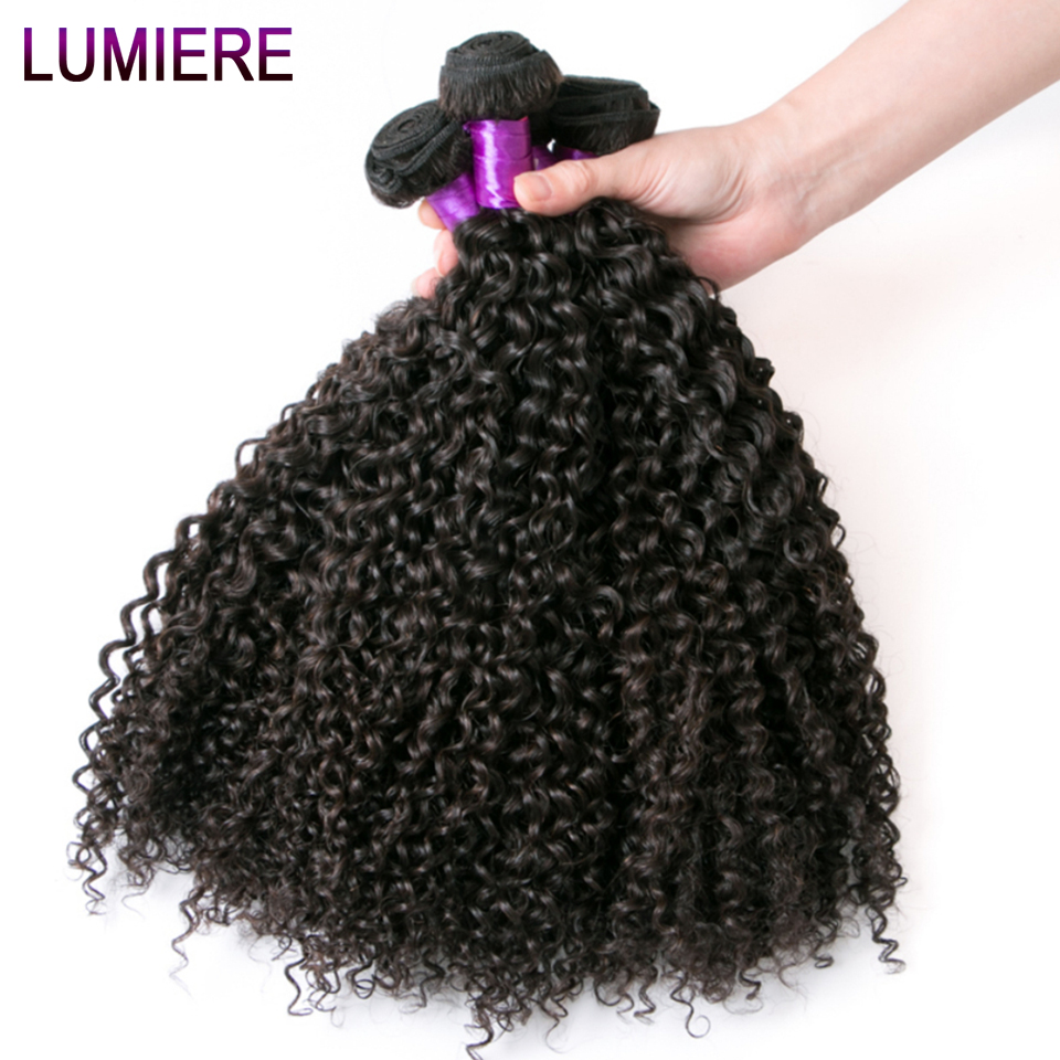 Lumiere Hair Brazilian Kinky Curly Hair 100% Human Hair Weave Bundles 3 Pieces Natural Color Non-Remy Hair Bundles ...
