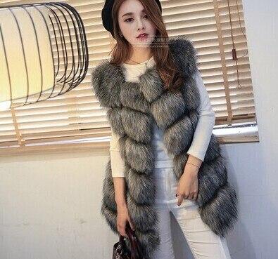 Высококачественная меховая жилетка, роскошное пальто из искусственного лисьего меха, теплое Женское пальто, жилетки, Зимняя мода, меховые женские пальто, куртка, жилетка, жилет, 4XL - Цвет: Dark grey