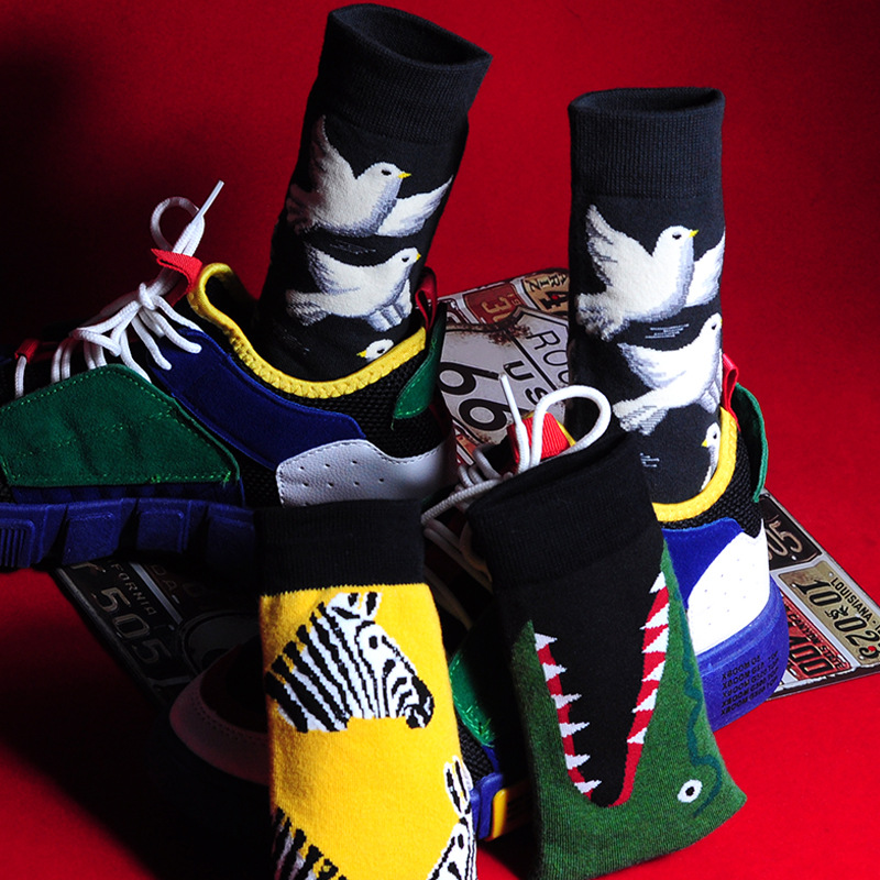 Men Fashion Printing Cartoon Crocodile Shark Zebra Flower Bird Colorful   Socks   Soft Comfort Cotton   Socks