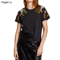 2018 Summer Embroidered Floral T Shirt For Women Two Type Shoulder Floral Design Lady Knit Tops