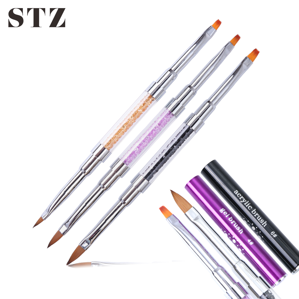 Imported From Abroad Stz 1pcs Dual-ended Nail Art Acrylic Uv Gel Brush Drawing Painting Pen Extension Rhinestone Handle Cap Manicure Nail Tools #820 Demand Exceeding Supply Nail Brushes
