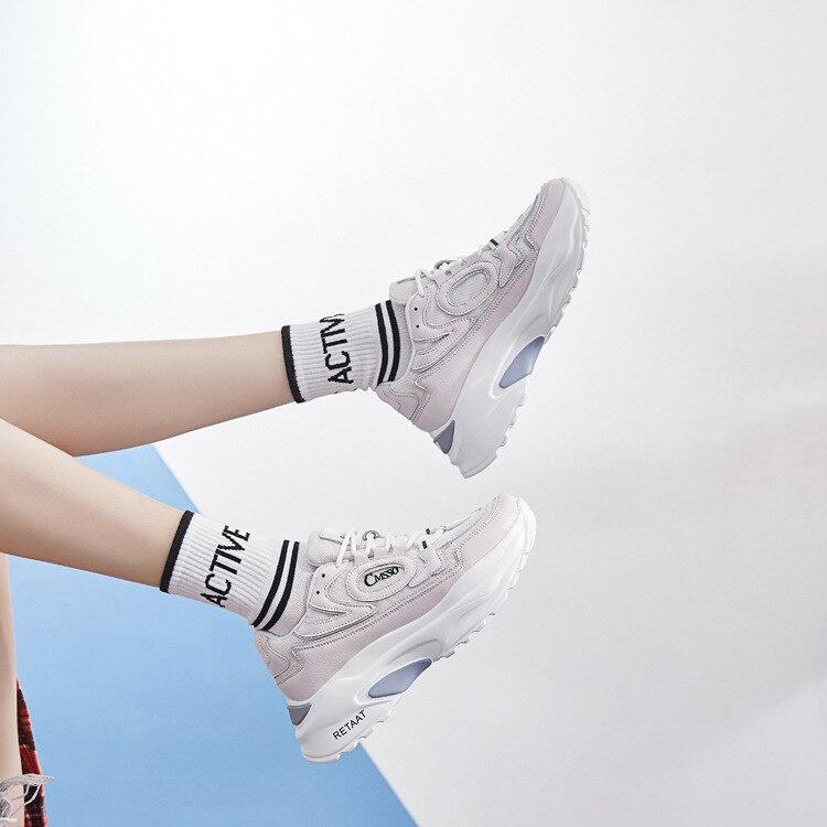 Automne Noir attaché Casual Épaisse blanc Marque Baskets Chaussure Blanc Jookrrix Plate Respirant Croix forme Femmes Chaussures Lady Semelle UqgPgn5a